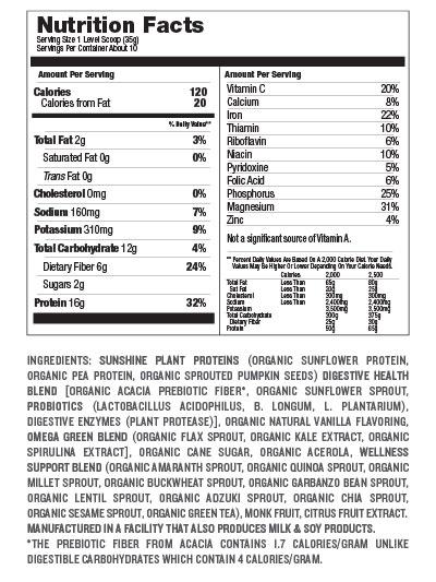 Sunshine Protein Vanilla Nutrition Facts